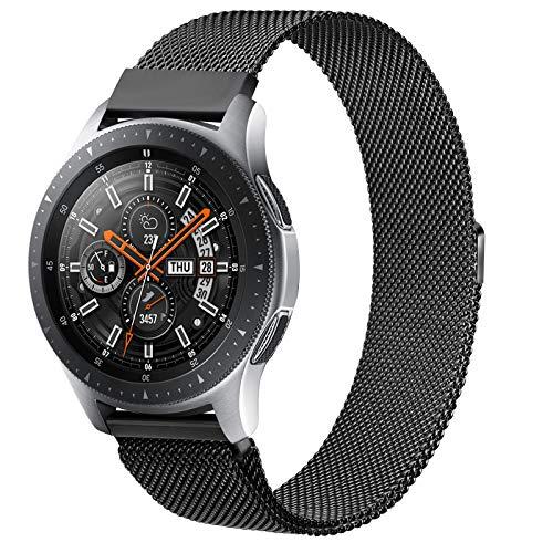 Oumida Bracelet de Montre 22mm Acier Inoxydable Compatible pour Samsung Galaxy 46mm, Gear S3 Frontier/Classic, Garmin Vivoactive 4, Fossil Gen 5, Bracelet de Sport de Rechange en Métal (22mm, Noir)