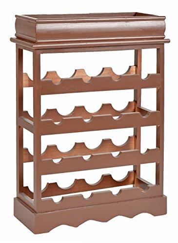 ts-ideen Botellero estante estantería de madera shabby look para 16 botellas de vino marrón