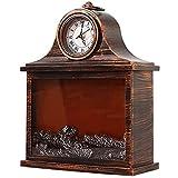 HGFHG Chimenea Reloj De Pared Chimenea Linterna Reloj De Repisa Vintage Decorativo Luz De Chimenea Simulada con Efecto De Llama LED Arreglo De Ventana De Escena Navideña