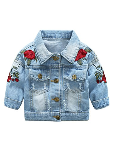 Abolai Baby Girls' Rose Embroidery Button Down Jeans Jacket Top Blue 70