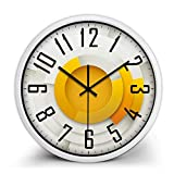guyuell Reloj De Pared Decorativo para El Hogar Reloj De Batería De Cuarzo Silencioso De Sin Tictac Números Arábigos Redondos Patrón De Origami 3D Relojes De Pared De Vidrio-Blanco Border_10Inch