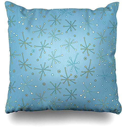 geckor Funda de Almohada Kitsch Azul Retro Star Holidays Verde 50S Diseño con Estilo Rojo Funda de Almohada Decorativa Decoración Tamaño Cuadrado 18x18 Pulgadas Funda de Almohada para el hogar