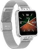 Reloj inteligente para mujer, impermeable, con seguimiento de actividad física, presión arterial, deportivo, reloj inteligente para mujer, color dorado y plateado
