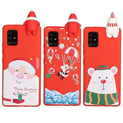 [3 Pack] Christmas Case for Samsung Galaxy Note 10 Lite/A81, 3D Cartoon Silicone Soft Silicone TPU Shockproof Protective Cases Slim Fit Ultra Thin Bumper Funny Girly Xmas Cover3Pcs-1