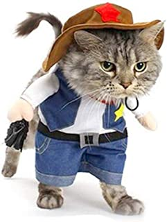 Yu-Xiang Cowboy Dog Costume with Hat Pet Clothes Cat Suit for Halloween Party Costumes (XS)