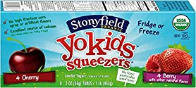 Stonyfield Organic, YoKids Cherry and Berry Low Fat Yogurt Squeezers, 2 oz, 8 Count