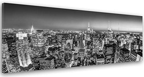 Feeby Frames, Cuadro en lienzo, Cuadro impresión, Cuadro decoración, Canvas de una pieza, 40x100 cm, CIUDAD, ARQUITECTURA, EDIFICIOS, RASCACIELOS, CIUDAD DE NUEVA YORK, NEGRO Y BLANCO