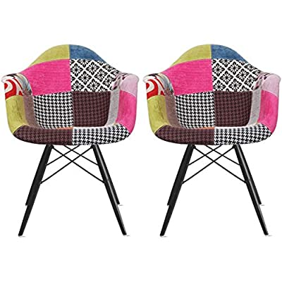 2xhome Set of 2 Multi Color Modern Upholstered Molded Armchair Fabric Chair Patchwork Multi-Pattern Dark Black Wood Wooden Leg Eiffel Dining Room Chair - Set of 2 fabric armchairs for dining room living space Seat FULLY covered with Fabric, including seat front, back and bottom. Multi-pattern upholstery made from hand stitched weave wool. Dark Black wooden dowel legs w/ floor protectors for sensitive flooring. - kitchen-dining-room-furniture, kitchen-dining-room, kitchen-dining-room-chairs - 512D6nCriKL. SS400  -