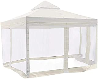 KCHEX 10x10 Feet/ 121x121-inch Square Ivory Poly-Vinyl Garden Canopy Gazebo Replacement Top with Mosquito Net 2-Tier Water...