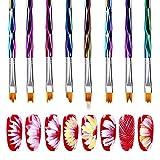Mwoot 8pcs Pro Pinceaux Ongles Nail Art Brosses et déco d'Ongles Gel Nail Paiting Brush, Peinture Acrylique De Dégradé Ensemble De Pinceaux Gel DIY Pétale De Fleur Dessin Stylo