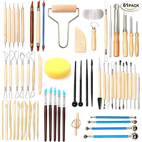 UHAPEER 61PCS Cerámica DIY Kit, Esculpir Arcilla Polimérica Herramientas, Para Modelo vela, Cerámica y Porcelana, Para Profesionales o Principiantes