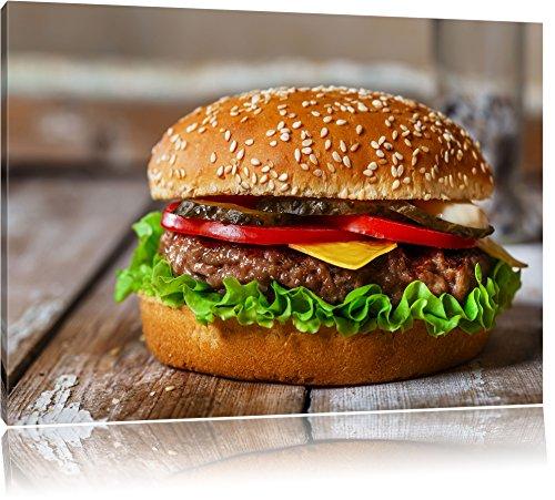 Burger Hamburger Cheesburger Käse Fast Food Format: 120x80 cm auf Leinwand, XXL riesige Bilder fertig gerahmt mit Keilrahmen, Kunstdruck auf Wandbild mit Rahmen, günstiger als Gemälde oder Ölbild, kein Poster oder Plakat