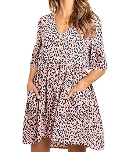 ASALWAYS Dames Luipaard Print Jurk V-hals Button Casual Tuniek Jurk Halve Mouwen Oversized Swing Jurk met Pocket