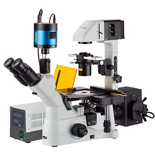 AmScope 40X-1500X Inverted Phase-Contrast + Fluorescence Microscope with 6MP Extreme Low-Light Camera