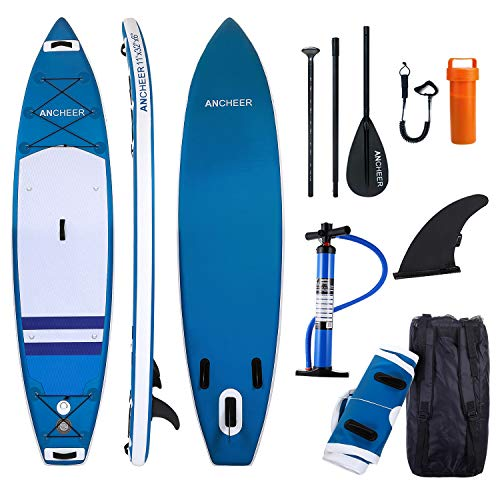ANCHEER Inflatable Stand Up Paddle Board 10', Non-Slip Deck(6 Inches Thick), iSUP Boards Package w/Adjustable Paddle, Leash, Hand Pump and Backpack, Youth & Adult