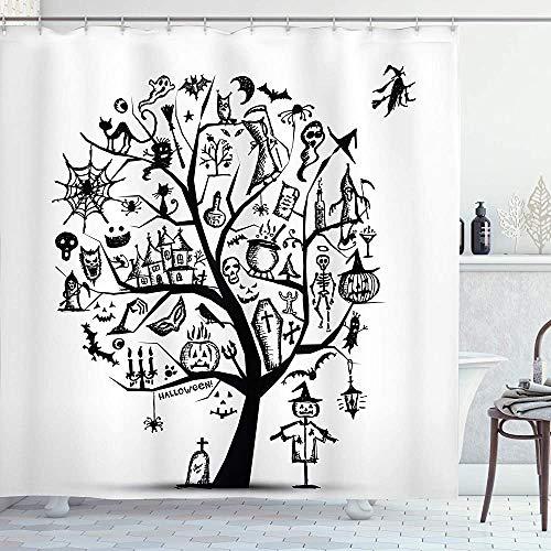 Halloween Duschvorhang skizzenhafter gruseliger Baum mit gruseligen Designobjekten und bösem Hexenbesen Abstrakter Stoff Stoff Badezimmerdekor Set mit Haken Schwarz WeißHalloween Shower Curtain Sketch