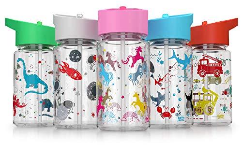 Be-Active - Botella de agua con paja, sin BPA, boquilla con tapa, botella de agua para niños, 400 ml, color gris