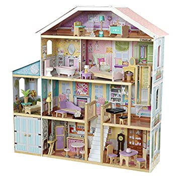 KidKraft Grand View Mansion Wooden Dollhouse with EZ Kraft Assembly Elevator Garage Attic Nursery and 34 Accessories Gift for Ages 3+