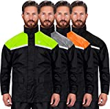 Viking Cycle Reflective Waterproof Motorcycle 2 Piece Rain Suit for Men