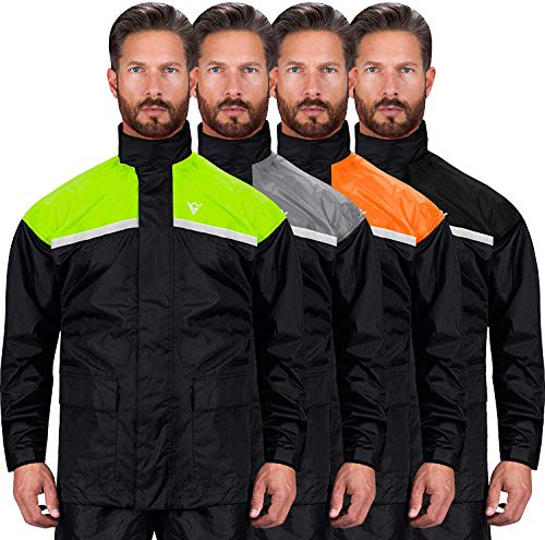 Viking Cycle Reflective Waterproof Motorcycle Rain 2 Piece Gear Suit for Men (Green, Small)