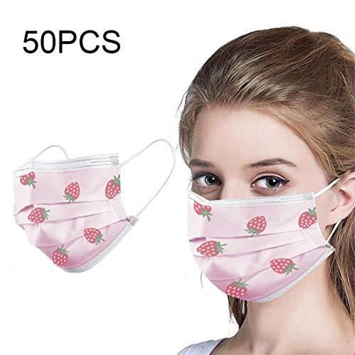 10/50 / 100PCS Unisex Adulto Lindo Impresión de Fresa Desechable A Prueba de Polvo Industrial Protección de 3 Capas (50PCS, Rosado)