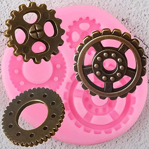 Moldes de silicona, engranajes industriales Steampunk Moldes de silicona para cupcakes, moldes para fondant, herramientas para decorar pasteles de cumpleaños para bebés, moldes para dulces y chocolat