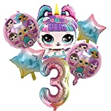 CHBOEN Balloon 6 unids/set lol sorpresa muñecas Número de cumpleaños Partido Globos Decoración Decoración Juguetes de acción de aluminio Película Globo Regalos para Kid Party Supplies