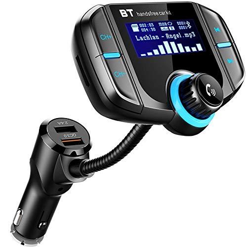 BBX Transmetteur FM Bluetooth avec QC 3,0 Chargeur de Voiture USB AUX entrées TF Carte Slot sans Fil dans la Voiture Adaptateur de Voiture kit Mains Libres avec Affichage de 1,7 Pouces et Double