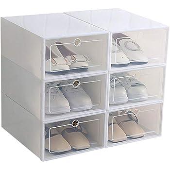 OurLeeme 6 Cajas para Zapatos Transparente Plástico, Caja Guardar Zapatos, Calcetines, Juguetes, Cinturones para la organización de su hogar, Oficina,33.5 * 23.5 * 13.0cm: Amazon.es: Hogar