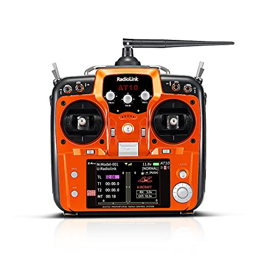 Radiolink AT10II 2.4G 12 Channels RC Transmitter and R12DS Receiver Radio Remote Controller Airplane Voltage Monitor for RC FPV Aircraft, Quad, Helicopter and More (Mode 2 Left Hand Throttle)
