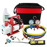 YaeTek 4CFM 1/3HP Rotary Vane Air Vacuum Pump HVAC A/C Refrigeration Kit AC