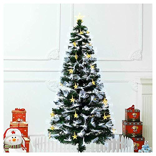 N/Z Home Equipment Christmas Tree Decorations Outdoor Indoor Artificial Fiber Optic Christmas Tree Pre-lit Premium Spruce Hinged Xmas Tree In Multicolored Led Lights Metal Stand 10 Flash Modes-green