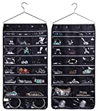 MISSLO 44 Zippered Pockets Hanging Jewellery Organiser With Hanger for Wardrobe Accessories Storage, Black
