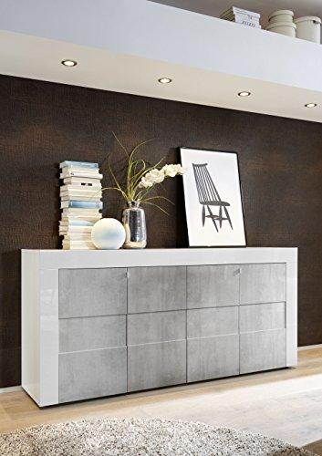 Arredocasagmb.it Mobile Contenitore 4 Ante Bianco Lucido Ante Effetto Cemento Moderno Soggiorno ESO 08 Madia