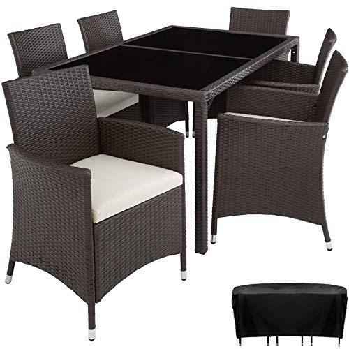 TecTake Conjunto Muebles De Jardín En Ratán Sintético 6+1 | Tornillos De Acero Inoxidable | Funda completa - disponible en diferentes colores - (Antiguo | no. 402060)
