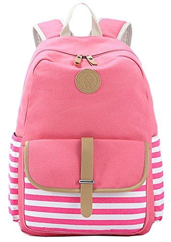 Greeniris Mädchen Streifen Segeltuch Rucksack Damen Vintage Schulrucksack für Damen Pink