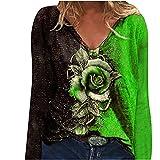 Camiseta de manga larga para mujer, elegante, con diseño de flores, cuello en V, holgada, para primavera y otoño, holgada, holgada, informal, cómoda y ligera, verde, XL