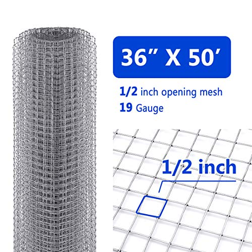 Tooca Hardware Cloth 1/2inch Chicken Wire Mesh, 36in x 50ft, 19 Gauge Hot-Dipped Galvanized Material, Fence Wire Mesh for Chicken Coop/Run/Cage/Pen/Vegetables Garden and Home Improvement Projects