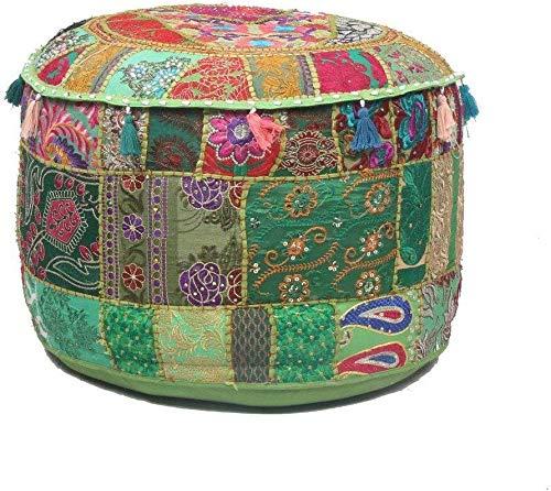 GANESHAM Puf otomano indio Hippie Vintage de algodón para el suelo y cojín de patchwork, para silla, bohemio, bordado a mano, puf otomano (verde, 33 cm de alto x 45,7 cm de diámetro (pulgadas))