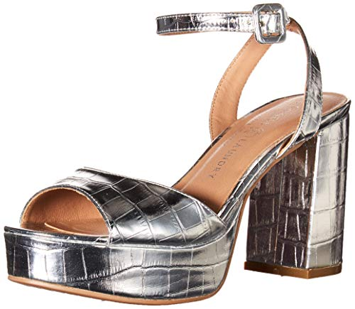 Chinese Laundry Women's Platform Sandal Heeled, Silver Patent Croco, 9
