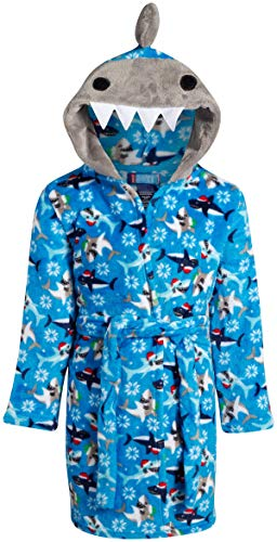 Only Boys Plush Fleece Animal Character Hooded Robe, Sharks, Size Medium (8/10)