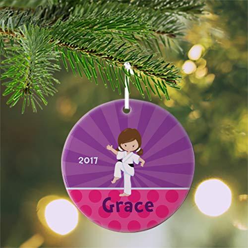 Lplpol Karate Ornament Karate Kid Girl Purple Rays Pink Polka Dot Personalized Kids Ornament Children Christmas Ornament