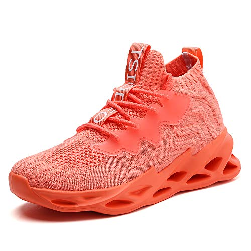 TSIODFO Women Sport Running Sneakers Mesh Breathable Comfort Ladies Gym Tennis Athletic Walking Shoes Jogging Trainers Orange Size 7