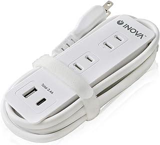 INOVA(TAPC) ケーブル収納 電源タップ Type-Cポート USBポート 3.4A 4口 コンセント 1m 1400W SmartIC 絶縁カバー PSE 3R SYSTEMS ホワイト