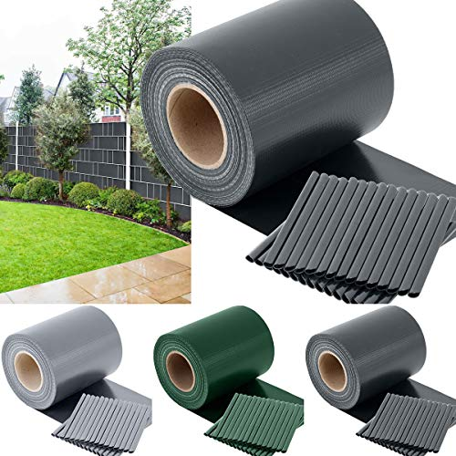 TOSANEO PVC Sichtschutzstreifen Sichtschutz Windschutz Zaunblende für Doppelstabmatten-Zaun Gartenzaun inkl. 30 Clips Rolle 35m x 19cm 450 g/m² Anthrazit