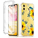 GVIEWIN Floden Series iPhone 11 Case 6.1 Inch 2019, [Built-in Tempered Glass Screen Protector] Full-Body Clear Flower Rugged Bumper Shockproof Protective Phone Cover (Sunflowers/Yellow)