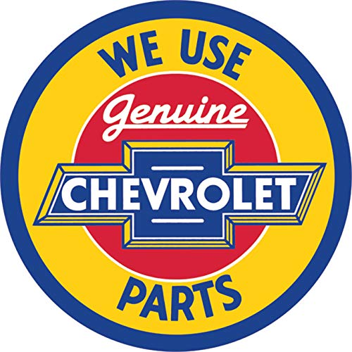 "Desperate Enterprises Chevrolet Genuine Parts Round Tin Sign, 11.75"" Diameter"