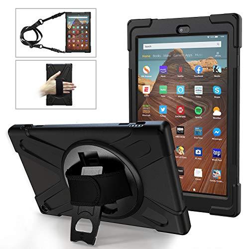 MoKo Custodia Protettiva per Nuovo Amazon Fire HD 10 Tablet (Modello di 9ª Gen 2019 & 7ª Gen 2017) con Supporti Tablet Ruotabili 360°, Tracolla Regolabile Cover per Fire HD 10 - Nero