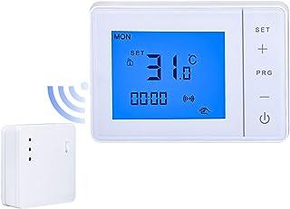 LEDLUX LL0255 Termostato inalámbrico RF Cronotermostato digital semanal táctil para caldera de gas y calefacción radiador ...