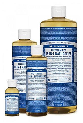 Dr. Bronner´s Naturseife Pfefferminz 18-in-1 Magic Soap natürliche Flüssigseife aus biologischem Anbau, vegan, keine Zusatzstoffe, Fair Trade zertifizierte Bioseife (1x240ml)